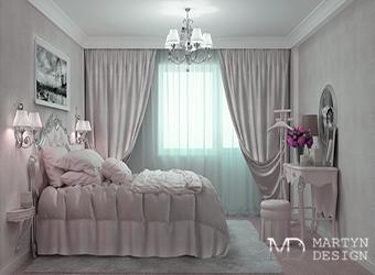 Интерьер дамской спальни в оттенках лавандового