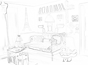 Рисунок интерьера детской комнаты для девочки