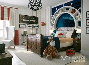 Дизайн синей спальни в морском стиле