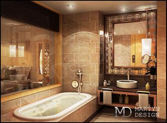 Дизайн современного коричневого санузла в форме зеркального куба