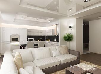 Дизайн современной белой кухни-гостиной в квартире