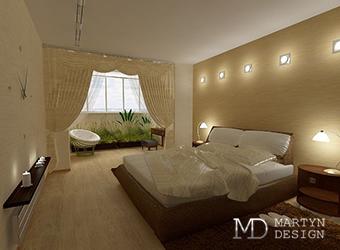 Дизайн спальни с присоединенной лоджией