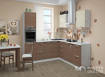 Дизайн маленькой кухни цвета кофе с молоком