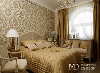 Дизайн уютной золотистой спальни