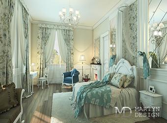 Дизайн французского интерьера спальни в пуританском духе
