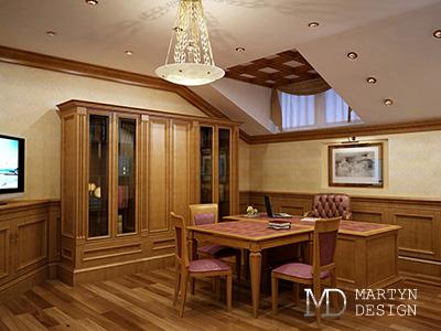 Дизайн кабинета в мансарде загородного дома