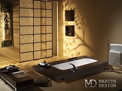 Восточные мотивы и минимализм в дизайне ванной комнаты