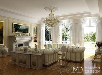 Светлая гостиная в классическом стиле с минималистичным уклоном