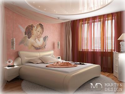 2 варианта дизайна спальни в рисунках