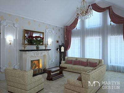Артистическая гостиная в стиле арт-деко с камином