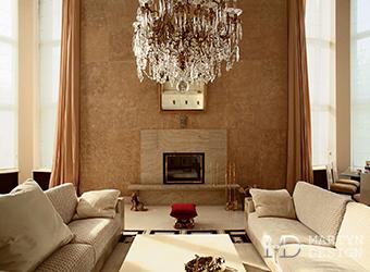 Интерьер неоклассической гостиной с камином