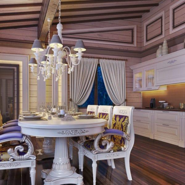 Дизайн кухни столовой в загородном доме