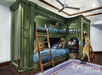 Необычная двухъярусная кровать в интерьере детской комнаты