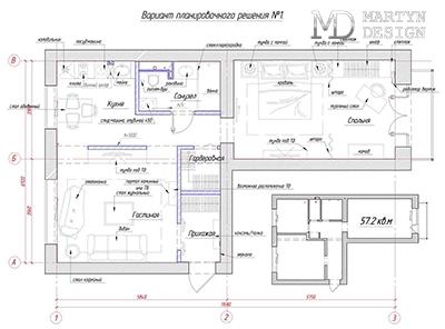 7 вариантов перепланировки типовой двухкомнатной квартиры 57,2 м2