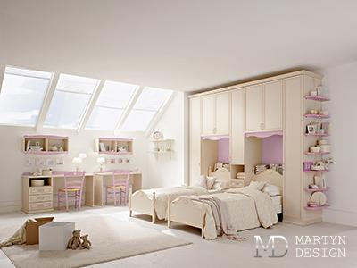 Дизайн детской комнаты для двух девочек в классическом стиле