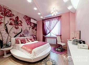Дизайн романтичной розовой спальни