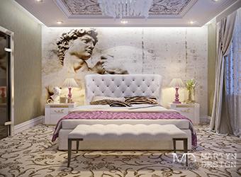 Интерьер современной бежевой спальни с элементами арт-деко