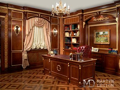 Дизайн классического кабинета с элементами стиля ампир