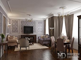 Неоклассический интерьер гостиной-столовой: уважение к традициям