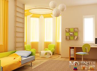 Интерьер солнечной детской комнаты