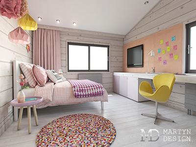 Дизайн детской комнаты для девочки в доме из бруса