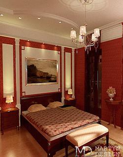 Интерьер солнечной неоклассической спальни