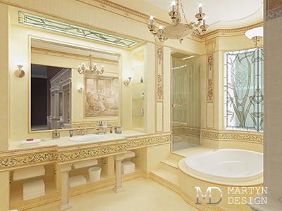 Дизайн классической ванной комнаты в бежевых тонах