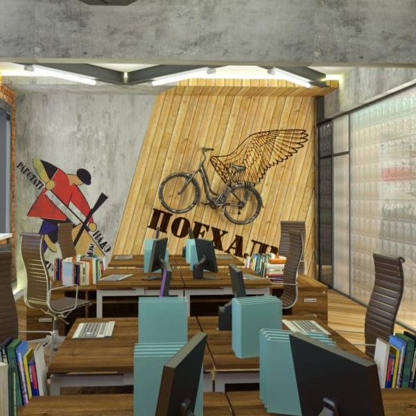 Дизайн офиса в стиле лофт, опенспейс в бизнес центре