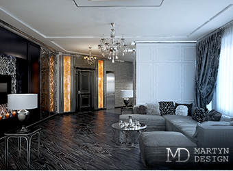 Интерьер уютной гостиной с элементами арт-деко