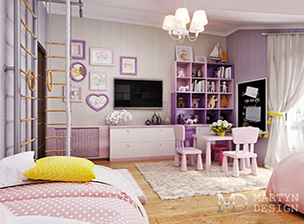 Интерьер уютной детской комнаты для девочки