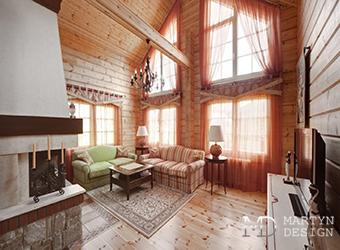 Дизайн эко-гостиной в доме из бруса