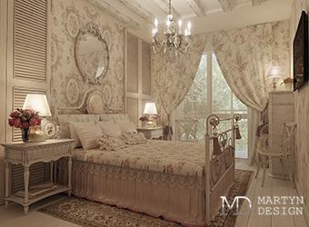 Интерьер французской спальни в оттенках оливкового и бежевого