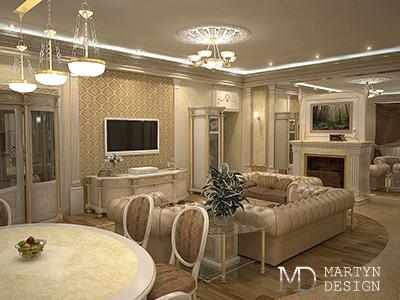 Два варианта дизайна классической ТВ-зоны в гостиной