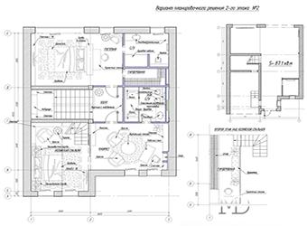 Планировка дома площадью 170.6 м2. Второй этаж