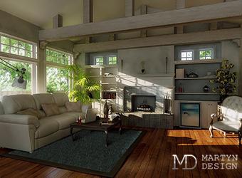 Дизайн-проект интерьера гостиной в частном доме