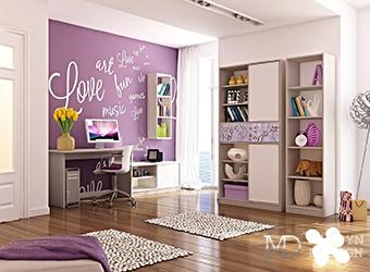 Дизайн лиловой детской комнаты для девочки