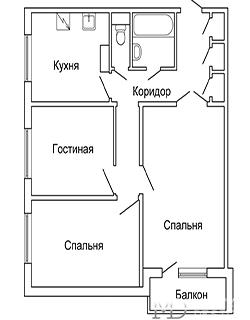 Планировка трёхкомнатной квартиры площадью 65 м2 с радиальной гостиной