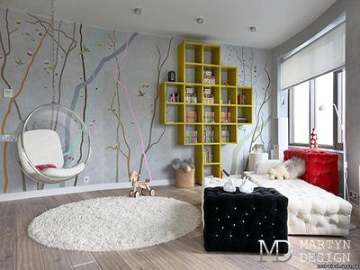 Дизайн детской комнаты с качелями для девочки