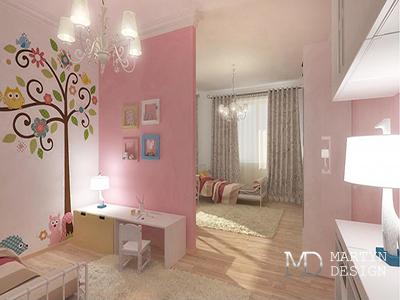 Дизайн бело-розовой детской комнаты для девочки