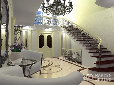 Декорирование интерьера холла в стиле ар-деко в загородном доме