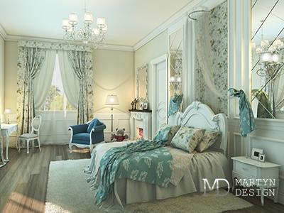 Дизайн бирюзовой спальни в духе Французской Ривьеры