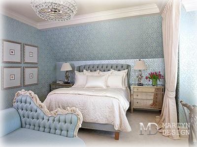 Дизайн бирюзовой гостевой спальни