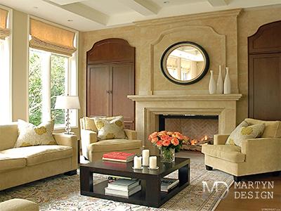 Дизайн классической гостиной с камином