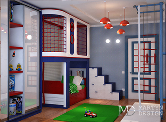 Интерьер яркой детской комнаты для мальчика