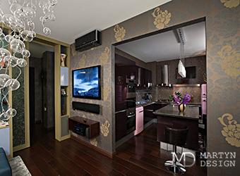 Интерьер яркой кухни-гостиной в стиле ар-деко