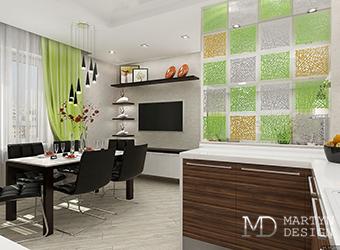 Дизайн-проект кухни-гостиной с яркими акцентами