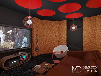 Дизайн домашнего кинотеатра в цокольном этаже загородного дома