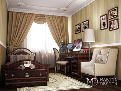 Дизайн классической детской комнаты с элементами русского ампира