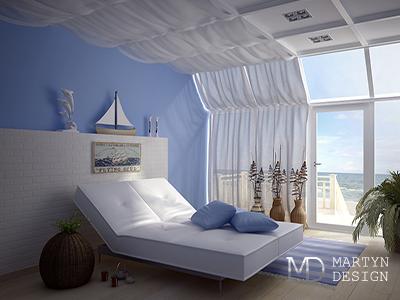 Дизайн классической спальни в морском стиле