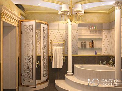 Дизайн ванных комнат в загородном доме: дворцовая классика